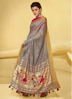 Foil Print Work Trendy Classic Saree For Casual