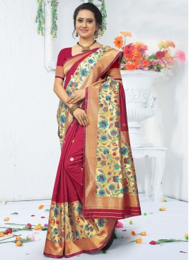 Fuchsia and Gold Art Silk Designer Traditional Saree For Ceremonial