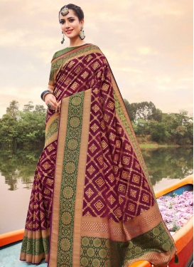 Fuchsia and Green Contemporary Style Saree For Festival