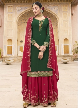 Fuchsia and Green Palazzo Straight Salwar Kameez