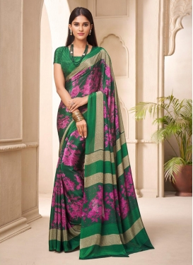 Fuchsia and Green Traditional Designer Saree For Casual