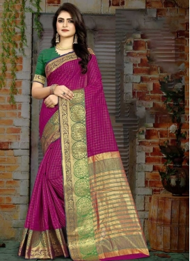 Fuchsia and Green Trendy Classic Saree For Casual