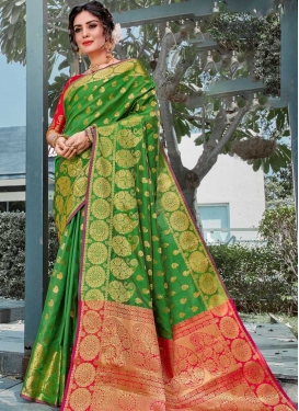 Fuchsia and Green Woven Work Contemporary Style Saree