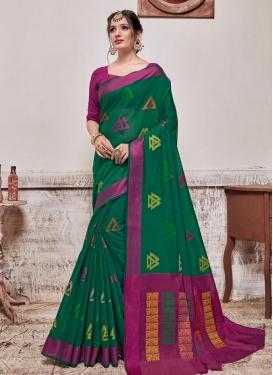 Fuchsia and Green Woven Work Cotton Silk Traditional Designer Saree