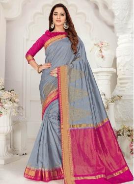 Fuchsia and Grey Art Silk Designer Contemporary Style Saree