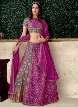 Fuchsia and Grey Embroidered Work Trendy Layered Lehenga Choli