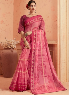 Fuchsia and Hot Pink Faux Georgette Printed Saree