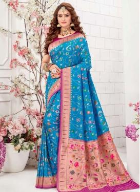 Fuchsia and Light Blue Art Silk Designer Contemporary Style Saree