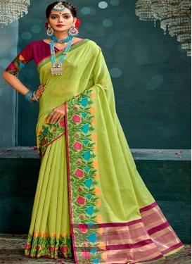 Fuchsia and Mint Green Cotton Designer Contemporary Style Saree