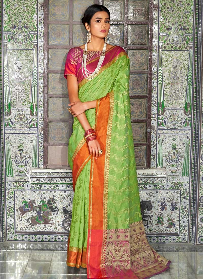 Fuchsia and Mint Green Thread Work Designer Contemporary Style Saree