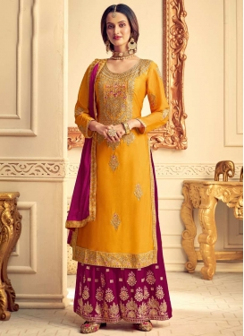Fuchsia and Mustard Palazzo Style Pakistani Salwar Suit For Festival