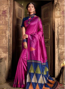 Fuchsia and Navy Blue Designer Traditional Saree