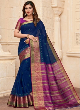 Fuchsia and Navy Blue Designer Traditional Saree For Casual