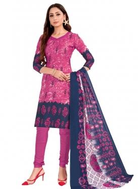 Fuchsia and Navy Blue Digital Print Work Cotton Churidar Salwar Kameez