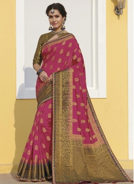 Fuchsia and Navy Blue Lace Work Traditional Designer Saree