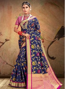 Fuchsia and Navy Blue Patola Silk Designer Contemporary Saree For Festival
