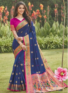 Fuchsia and Navy Blue Traditional Designer Saree