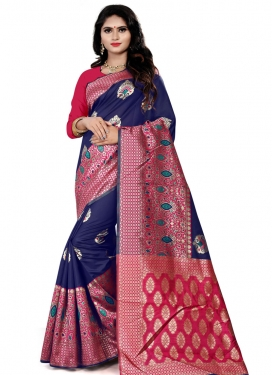 Fuchsia and Navy Blue Trendy Classic Saree