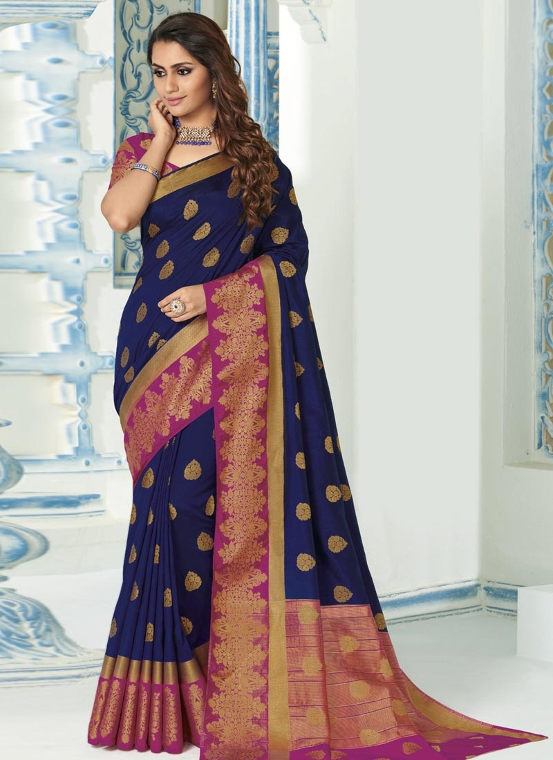 Fuchsia and Navy Blue Woven Work Art Silk Designer Contemporary Style Saree