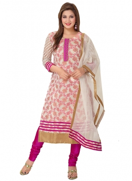 Fuchsia and Off White Readymade Churidar Salwar Suit For Ceremonial