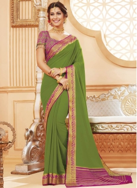 Fuchsia and Olive Traditional Designer Saree For Ceremonial