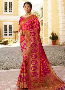Fuchsia and Orange Banarasi Silk Designer Traditional Saree