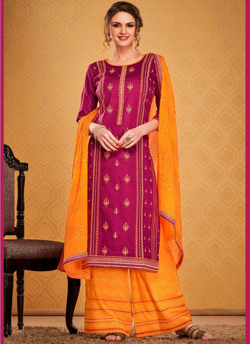 Fuchsia and Orange Palazzo Style Pakistani Salwar Suit