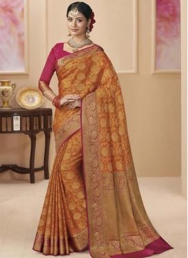Fuchsia and Orange Tissue Designer Contemporary Style Saree For Bridal