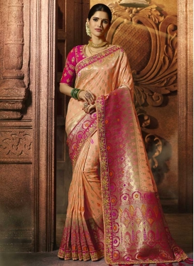 Fuchsia and Peach Traditional Designer Saree
