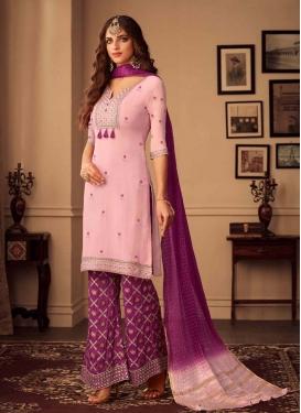 Fuchsia and Pink Embroidered Work Palazzo Straight Salwar Kameez