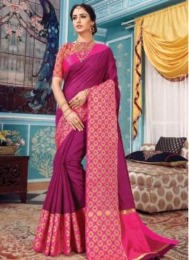 Fuchsia and Rose Pink Art Silk Trendy Classic Saree
