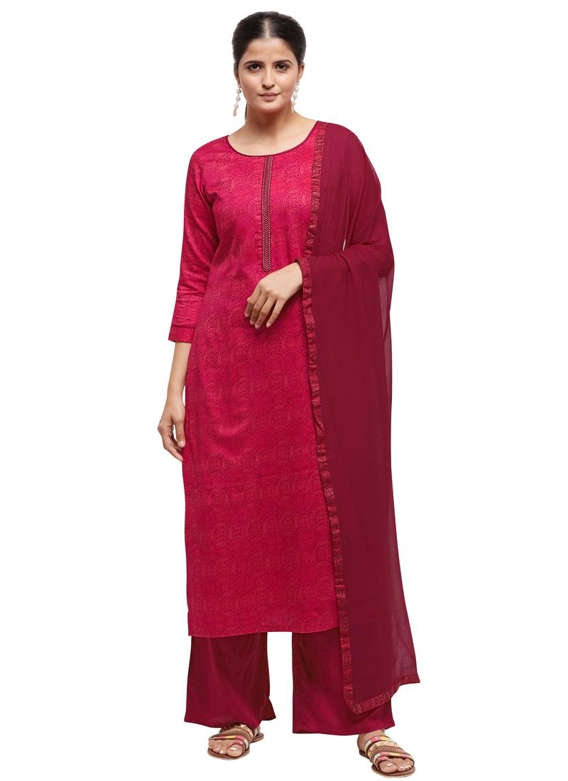 Fuchsia and Rose Pink Palazzo Style Pakistani Salwar Suit