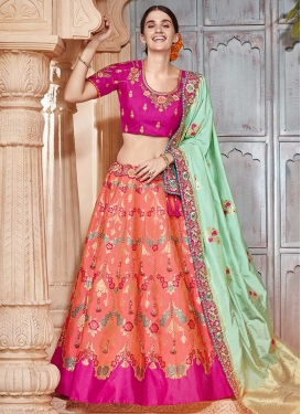 Fuchsia and Salmon Embroidered Work Designer Lehenga Choli