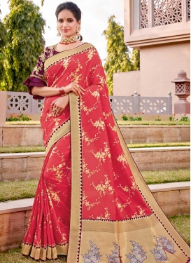 Fuchsia and Salmon Embroidered Work Silk Traditional Designer Saree