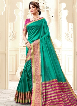Fuchsia and Sea Green Cotton Silk Designer Contemporary Saree