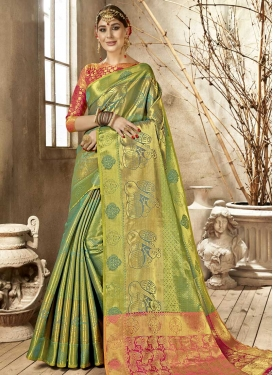 Fuchsia and Sea Green Designer Contemporary Saree For Casual