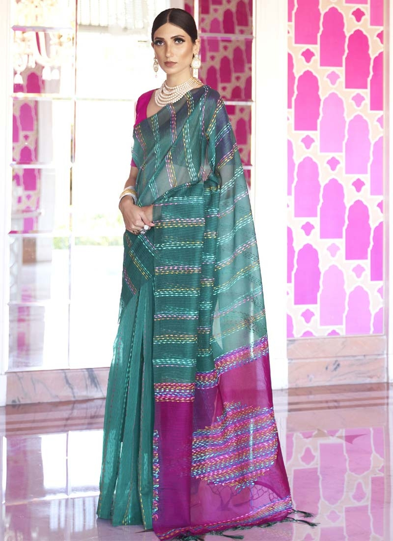 Fuchsia and Teal Woven Work Contemporary Style Saree