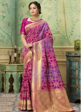 Fuchsia and Violet Contemporary Saree For Festival