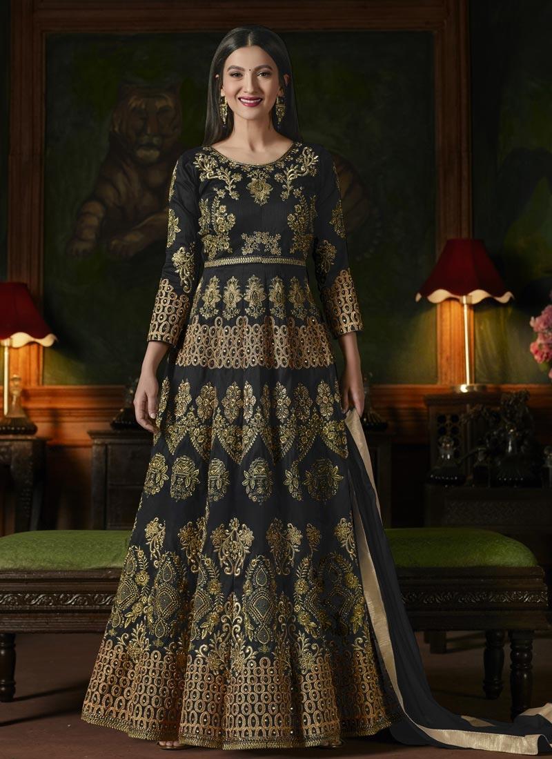 Gauhar Khan Booti Work Floor Length Anarkali Suit
