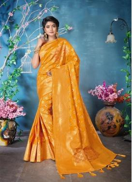 Genius Banarasi Silk Orange Woven Classic Designer Saree