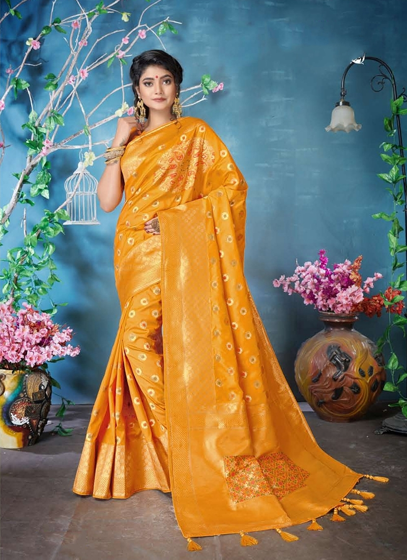 Genius Banarasi Silk Orange Woven Classic Designer Saree