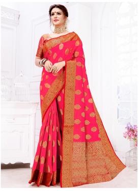 Genius Rose Pink Weaving Art Silk Designer Traditional Saree