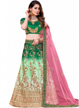 Genius Silk Embroidered Green and Turquoise Trendy Lehenga Choli