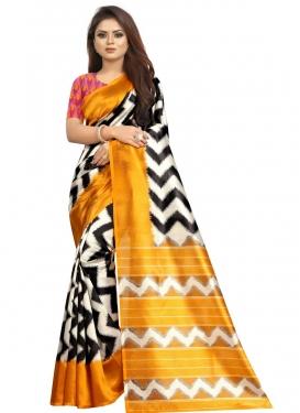Geometric Print Work Traditional Designer Saree
