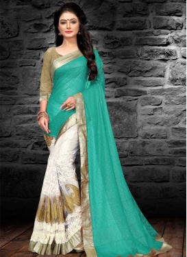Georgette Aqua Blue and White Half N Half Designer Saree