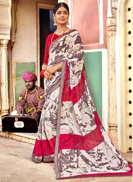 Georgette Multi Colour Printed Trendy Saree
