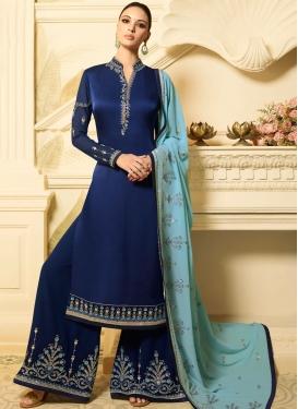 Georgette Satin Designer Palazzo Suit in Navy Blue