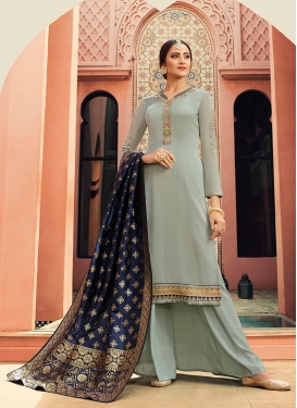 Georgette Satin Embroidered Palazzo Straight Suit in Aqua Blue