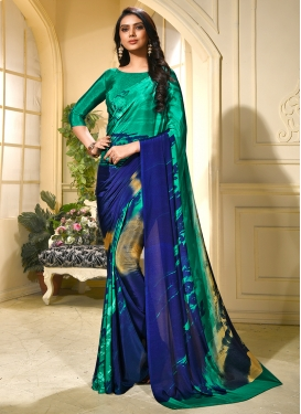 Gilded Green Printed Faux Crepe Trendy Saree