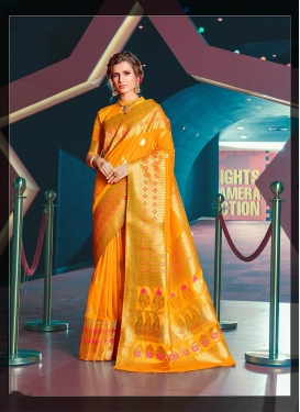 Gilded Weaving Orange Designer Traditional Saree